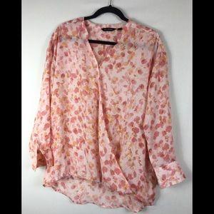 H by Halston pink floral faux wrap top size 8